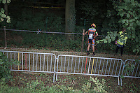 Seppe Rombouts (BEL/U23/Acrog-BalenBC) crashed on the cobbles & will leave the race soon after<br /> <br /> Brico-cross Geraardsbergen 2016