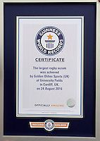 Pictured: The record certificate in Cardiff, Wales, UK. Wednesday 24 August 2016<br />Re: The largest rugby scrum has been achieved by Golden Oldies at University Fields in Cardiff south Wales, UK. It was refereed by welsh international referee Nigel Owens. Guinness World Records has verified the new record in which 1297 people took part in.