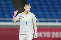YOKOHAMA, JAPAN - AUGUST 6: Goalkeeper Hedvig Lindahl #1 of Sweden celebrates after a penalty save during a game between Canada and Sweden at International Stadium Yokohama on August 6, 2021 in Yokohama, Japan.