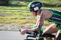 Heather Jackson competes during the bike portion of the Accenture Ironman California 70.3 in Oceanside, CA on March 29, 2014.