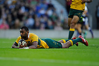 Tevita Kuridrani of Australia dives over to score a try during the Killik Cup match between Barbarians and Australia at Twickenham Stadium on Saturday 1st November 2014 (Photo by Rob Munro)