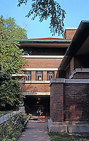 F.L. Wright: Robie House. Entrance on Dearborn.  Photo '76.