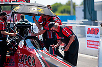Aug 8, 2020; Clermont, Indiana, USA; Crew members for NHRA top fuel driver Steve Torrence during qualifying for the Indy Nationals at Lucas Oil Raceway. Mandatory Credit: Mark J. Rebilas-USA TODAY Sports