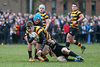 Saturday 18th February 2017 | CCB vs RBAI<br /> <br /> Rhys O'Donnell during the Ulster Schools' Cup Quarter Final clash between Campbell College Belfast and RBAI at Foxes Field, Campbell College, Belmont, Belfast, Northern Ireland.<br /> <br /> Photograph by John Dickson | www.dicksondigital.com