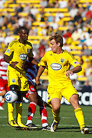 28 AUGUST 2010:  Chad Marshall of the Columbus Crew (14) during MLS soccer game between FC Dallas vs Columbus Crew at Crew Stadium in Columbus, Ohio on August 28, 2010.