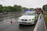 Firefighters and Police attend a RTC on the Motorway Warwickshire UK. This image may only be used to portray the subject in a positive manner..©shoutpictures.com..john@shoutpictures.com