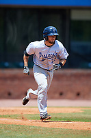 Pensacola Blue Wahoos shortstop Blake Trahan (32) runs to first base during a game against the Mobile BayBears on April 26, 2017 at Hank Aaron Stadium in Mobile, Alabama.  Pensacola defeated Mobile 5-3.  (Mike Janes/Four Seam Images)