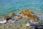 Küste beim Campingplatz von Glavotok; coast at the camping, campsite of Glavotok, Krk Island, Dalmatia, Croatia. Insel Krk, Dalmatien, Kroatien. Krk is a Croatian island in the northern Adriatic Sea, located near Rijeka in the Bay of Kvarner and part of the Primorje-Gorski Kotar county. Krk ist mit 405,22 qkm nach Cres die zweitgroesste Insel in der Adria. Sie gehoert zu Kroatien und liegt in der Kvarner-Bucht suedoestlich von Rijeka.