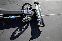 Feb 4, 2016; Chandler, AZ, USA; Detailed view of the front wing and front wheels on the dragster of NHRA top fuel driver Brittany Force during pre season testing at Wild Horse Pass Motorsports Park. Mandatory Credit: Mark J. Rebilas-USA TODAY Sports