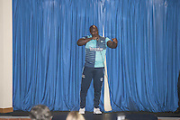 Adebayo Akinfenwa is unveiled as a new Wycombe player during the Wycombe Wanderers 2016/17 Kit launch to the Public at Adams Park, High Wycombe, England on 10 July 2016. Photo by Andy Rowland.