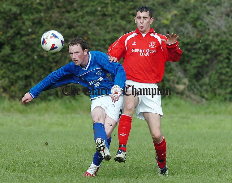 Corofins Ryan Haran in action against Abbeyfeale in their FAI Junior Cup Clash at Corofin.Pic Arthur Ellis.