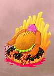 Illustration of unhealthy eating against colored background