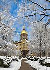 Mar. 12, 2014; Main Building after a snowfall.<br /> <br /> Photo by Matt Cashore/University of Notre Dame
