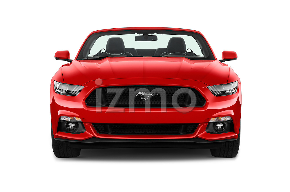 Car photography straight front view of a 2016 Ford Mustang GT 2 Door Convertible Front View