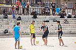 (2L-R) Tomoya Ginoza,   Marcelo Mendes (JPN),<br /> APRIL 20, 2014 - Beach Soccer :<br /> Beach Soccer Japan national team candidates training camp in Okinawa, Japan. (Photo by Wataru Kohayakawa/AFLO)