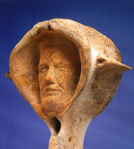 Conor O'Brien discovered in the single vertebra of a blue whale, as carved by Danny Osborne to commemorate the 75th Anniversary of his completed circumnavigation in 1998