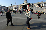 George Galloway, former Respect Party MP for Bethnal Green & Bow, interviewed for BBC in London's Traflagar Square about Falkland Islands, offering to broker a deal between UK and Argentine governments.