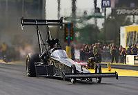 Mar 15, 2015; Gainesville, FL, USA; NHRA top fuel driver Shawn Langdon during the Gatornationals at Auto Plus Raceway at Gainesville. Mandatory Credit: Mark J. Rebilas-