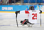 Sochi, RUSSIA - Mar 11 2014 -  Graeme Murray prepares to the start of the game as Canada takes on Czech Republic in Sledge Hockey at the 2014 Paralympic Winter Games in Sochi, Russia.  (Photo: Matthew Murnaghan/Canadian Paralympic Committee)