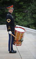 "With full Ceremonial Honors presented, members of the U.S. Army Band ""Pershing's Own"" perform at the Tomb of the Unknowns during the arrival of The Right Honorable Justin Trudeau, Prime Minister of Canada. The Prime Minister was at Arlington National Cemetery to lay a wreath at the Tomb of the Unknowns in honor of the Prime Minister's official visit to the United States. (Department of Defense photo by Marvin Lynchard)"
