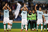 Calcio, Serie A: Roma, stadio Olimpico, 22 ottobre 2017.<br /> Lazio's players celebrate after winning 3-0 the Italian Serie A football match between Lazio and Cagliari at Rome's Olympic stadium, October 22, 2017.<br /> UPDATE IMAGES PRESS/Isabella Bonotto