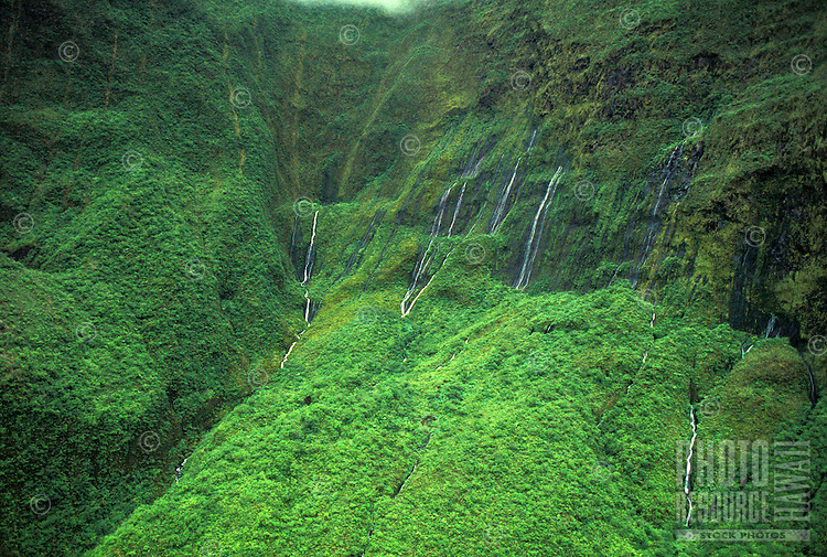 Aerial view amidst the green rainforest of the West Maui mountains with rows of waterfalls