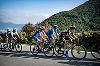Primoz Roglic (SVN/Jumbo-Visma), Alejandro Valverde (ESP/Movistar), David Gaudu (FRA/Groupama - FDJ) & Michael Woods (CAN/Israel Start-Up Nation) up the Passo di Ganda<br /> <br /> 115th Il Lombardia 2021 (1.UWT)<br /> One day race from Como to Bergamo (ITA/239km)<br /> <br /> ©kramon