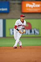 Louisville Bats shortstop Juan Perez (11) during a game against the Columbus Clippers on May 1, 2017 at Louisville Slugger Field in Louisville, Kentucky.  Columbus defeated Louisville 6-1  (Mike Janes/Four Seam Images)