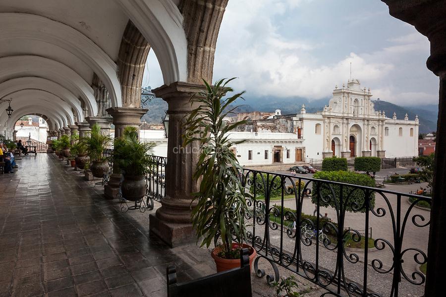 Antigua, Guatemala.  Cathedral of San Jose, Plaza de Armas, from Balcony of the Ayuntamiento (Municipality).