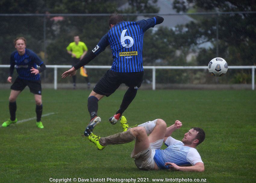 Action from the Central League football match between Miramar Rangers and North Wellington at David Farrington Park in Wellington, New Zealand on Saturday, 26 June 2021. Photo: Dave Lintott / lintottphoto.co.nz