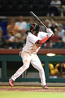 Scottsdale Scorpions outfielder Roman Quinn (4) during an Arizona Fall League game against the Surprise Saguaros on October 15, 2014 at Scottsdale Stadium in Scottsdale, Arizona.  Surprise defeated Scottsdale 13-11.  (Mike Janes/Four Seam Images)