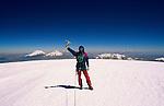 Summiting Nevado Sajama (6549 m), with Parinacota and Pomerapi in the background. Bolivia, 1999.