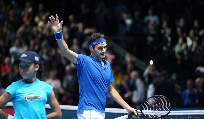 Roger Federer (SUI) celebrates after winning his match against Dominic Thiem (AUT) in their Group Lleyton Hewitt match<br /> <br /> Photographer Rob Newell/CameraSport<br /> <br /> International Tennis - Nitto ATP World Tour Finals Day 3 - O2 Arena - London - Tuesday 13th November 2018<br /> <br /> World Copyright © 2018 CameraSport. All rights reserved. 43 Linden Ave. Countesthorpe. Leicester. England. LE8 5PG - Tel: +44 (0) 116 277 4147 - admin@camerasport.com - www.camerasport.com