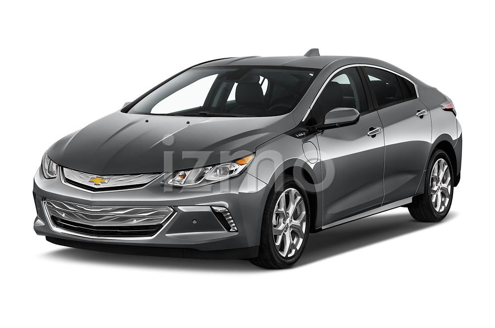 2018 Chevrolet Volt Premier 5 Door Hatchback Angular Front stock photos of front three quarter view