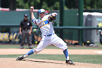 Nick Kern #16 of the UCLA Bruins pitches against the Oregon Ducks at Jackie Robinson Stadium on May 18, 2014 in Los Angeles, California. Oregon defeated UCLA, 5-4. (Larry Goren/Four Seam Images)