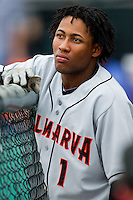 Gregory Lorenzo (1) of the Delmarva Shorebirds prior to the game against the Hagerstown Suns at Municipal Stadium on April 11, 2013 in Hagerstown, Maryland.  The Shorebirds defeated the Suns 7-4.  (Brian Westerholt/Four Seam Images)