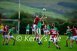 Cromane's Donnchadh Walsh and Alan Fitzgerald of Castlegregory take to the air in the Junior Football Championship Group 2 game