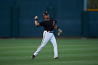 AZL D-backs shortstop Marshawn Taylor (5) throws to second base during an Arizona League game against the AZL Mariners on July 3, 2019 at Salt River Fields at Talking Stick in Scottsdale, Arizona. The AZL D-backs defeated the AZL Mariners 3-1. (Zachary Lucy/Four Seam Images)