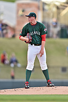 Greenville Drive starting pitcher Jay Groome (28) looks in for the signals during a game against the Lexington Legends at Fluor Field at West End on April 10, 2017 in Greenville, South Carolina. The Legends defeated the Drive 12-4 (Tony Farlow/Four Seam Images)