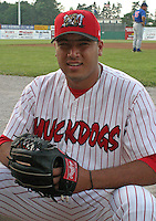July 4, 2003:  Carlos Urratia of the Batavia Muckdogs during a game at Dwyer Stadium in Batavia, New York.  Photo by:  Mike Janes/Four Seam Images