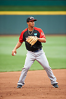 World Team infielder Cheslor Cuthbert (19) during practice before the MLB All-Star Futures Game on July 12, 2015 at Great American Ball Park in Cincinnati, Ohio.  (Mike Janes/Four Seam Images)