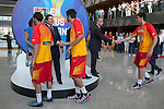 Ana Botella, Borja Prado and Ignacio Wert greeting some players during the official presentation of Spain´s basketball team for the 2014 Spain Basketball Championship in Madrid, Spain. July 24, 2014. (ALTERPHOTOS/Victor Blanco)