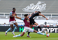 Aston Villa's Tyrone Mings blocks the shot from Newcastle United's Joelinton<br /> <br /> Photographer Alex Dodd/CameraSport<br /> <br /> The Premier League - Newcastle United v Aston Villa - Wednesday 24th June 2020 - St James' Park - Newcastle <br /> <br /> World Copyright © 2020 CameraSport. All rights reserved. 43 Linden Ave. Countesthorpe. Leicester. England. LE8 5PG - Tel: +44 (0) 116 277 4147 - admin@camerasport.com - www.camerasport.com