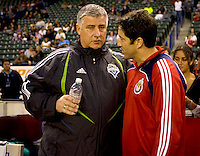 Head coaches of Seattle Sounders Sigi Schmid (l) and Chivas USA Preki (r).  Chivas USA defeated the Seattle Sounders 2-0 at Home Depot Center stadium in Carson, California on Saturday April 18, 2009.  .
