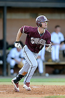 Shortstop Champ Rowland (4) of the College of Charleston Cougars runs to first in a game against the University of South Carolina Upstate Spartans on Tuesday, March 31, 2015, at Cleveland S. Harley Park in Spartanburg, South Carolina. Charleston won, 10-0. (Tom Priddy/Four Seam Images)