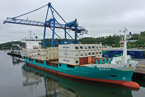 Unifeeder's MV Ragna at Tivoli Container Terminal on her maiden call to the Port of Cork