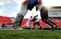 Jun. 13, 2009; Las Vegas, NV, USA; Players do pad drills during the United Football League workout at Sam Boyd Stadium. Mandatory Credit: Mark J. Rebilas-