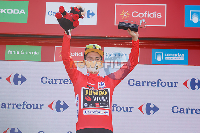 Primoz Roglic (SLO) Jumbo-Visma retakes the race leaders Red Jersey at the end of Stage 6 of La Vuelta d'Espana 2021, running 158.3km from Requena to Alto de la Montaña Cullera, Spain. 19th August 2021.    <br /> Picture: Luis Angel Gomez/Photogomezsport | Cyclefile<br /> <br /> All photos usage must carry mandatory copyright credit (© Cyclefile | Luis Angel Gomez/Photogomezsport)