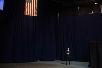 A secret service member waits for the Republican Presidential candidate Donald Trump during a rally at the University of Illinois at Chicago, which was eventually postponed due to security fears arising from clashes between pro-Trump and anti-Trump factions.