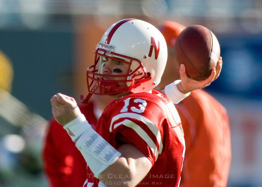 01 January 2007: Nebraska quarterback Zac Taylor (#13) warms up before the 2007 AT&T Cotton Bowl Classic between The University of Auburn and The University of Nebraska at The Cotton Bowl in Dallas, TX.